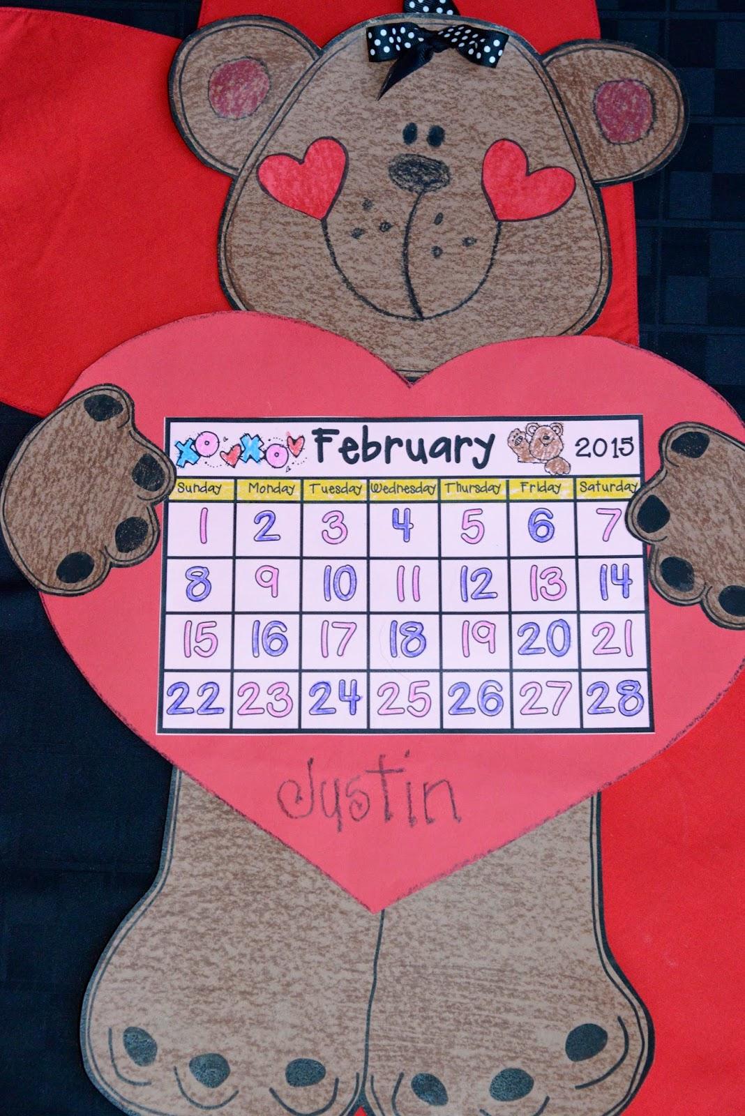 February Calendar for Kindergarten