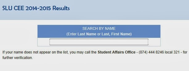 SLU CEE 2014-2015 results now out