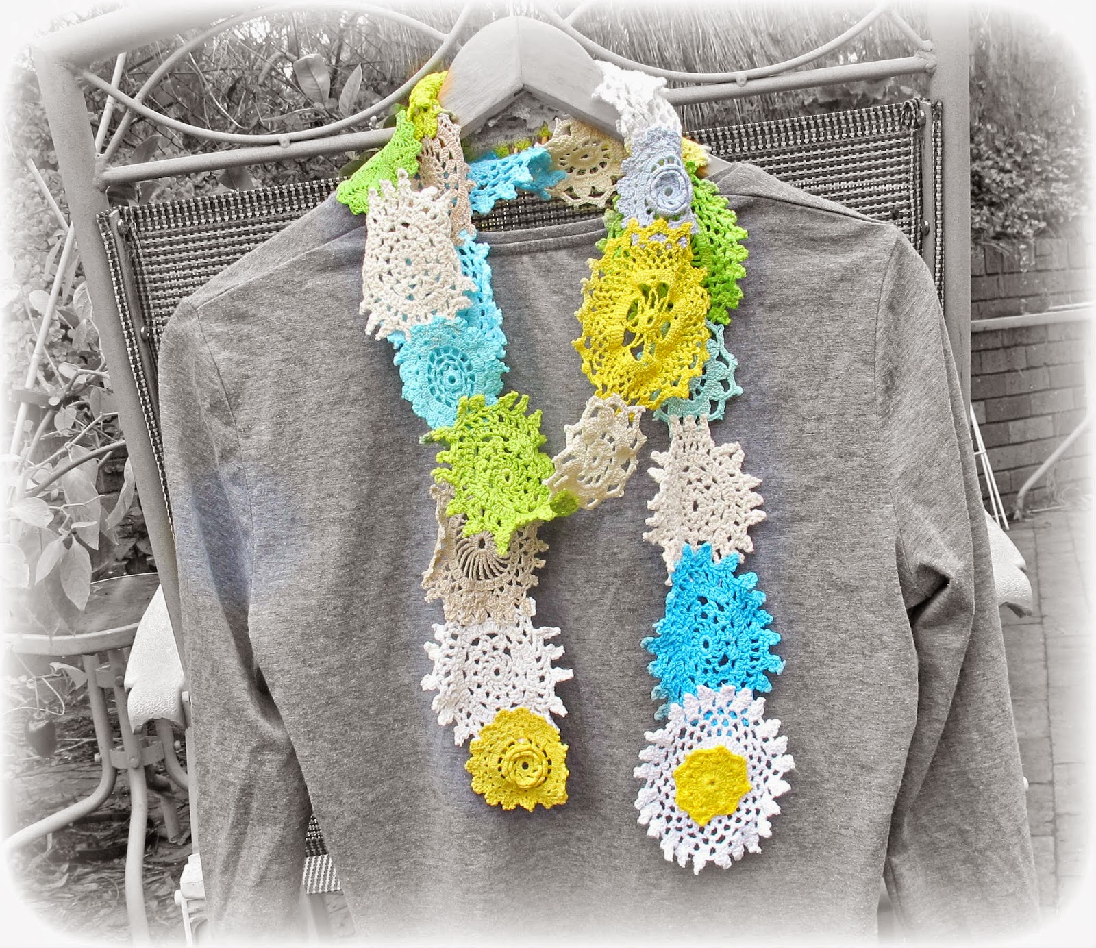 image vintage doily scarf hand dyed shabby chic spring autumn fall yellow white blue green domum vindemia