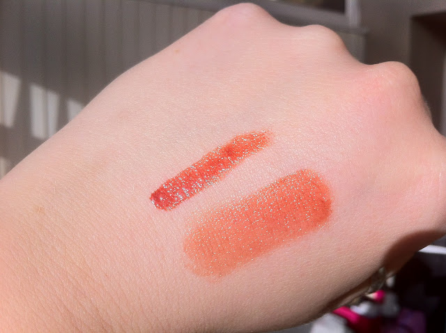 Shiseido lip lacquer swatched on the back of my hand