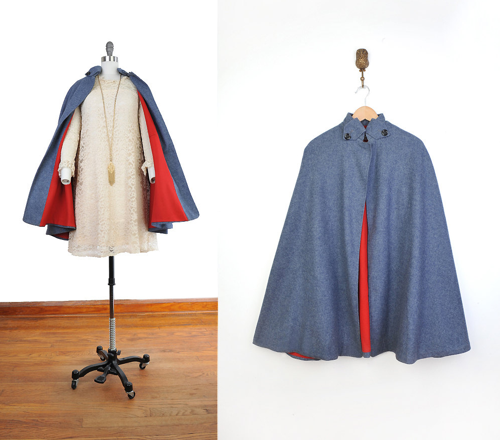 Red Lined Vintage Cape #vintage #cape