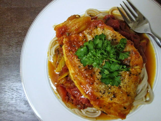 seared pork chops with spiced tomato sauce