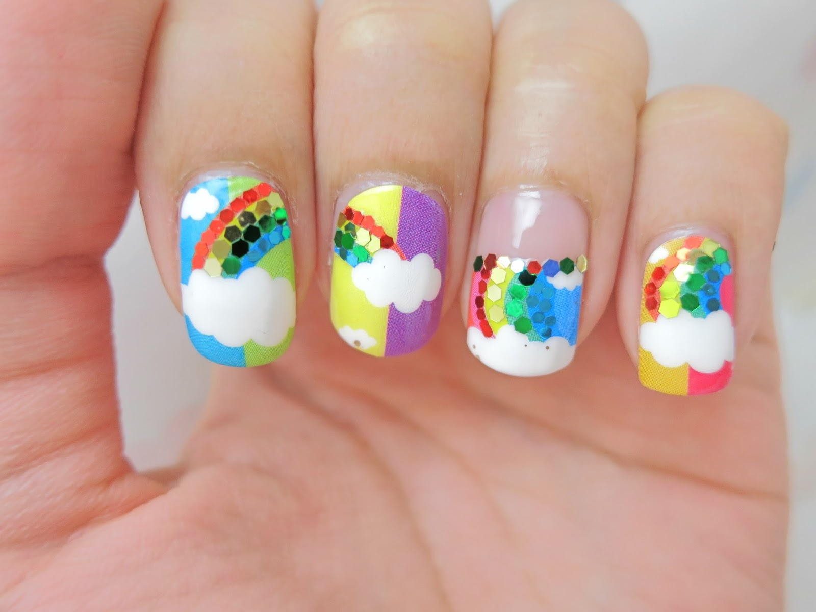 Clouds And Rainbow Nail Art Nail Wrap Mds1029 Chichicho