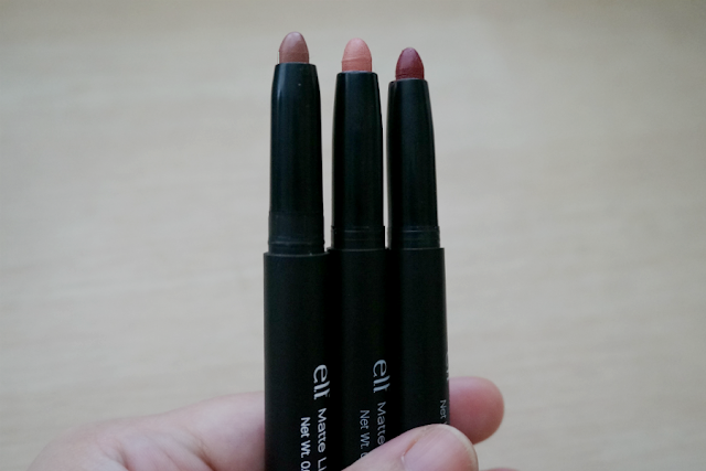 e.l.f. Studio Matte Lip Color (L-R) Praline, Coral, Cranberry