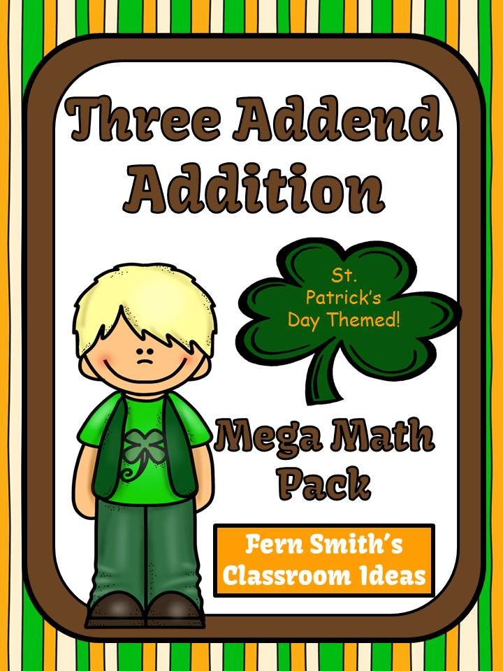 St. Patrick's Day Three Addend Addition Mega Math Pack - Printables and Games