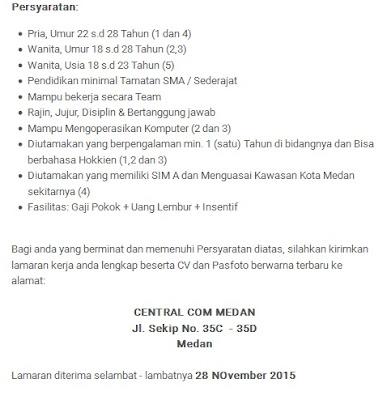 Lowongan Kerja SMA Medan Central Com November 2015