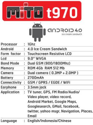 ... mito t970 spesifikasi harga mito t970 spesifikasi harga tablet