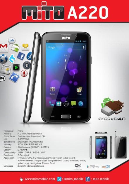 Harga Hp Mito A220, Android ICS, Layar 5 Inci, Plus TV Terbaru Januari