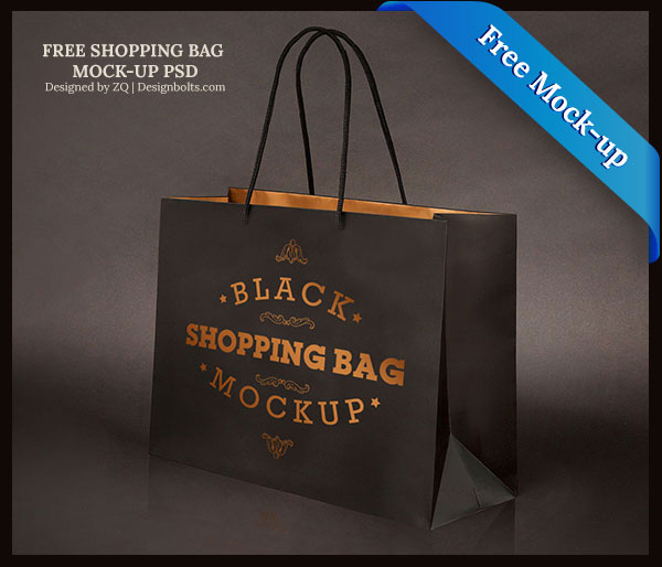 Download Packaging Mockup PSD Terbaru Gratis - Free Black Shopping Bag Mock-up PSD