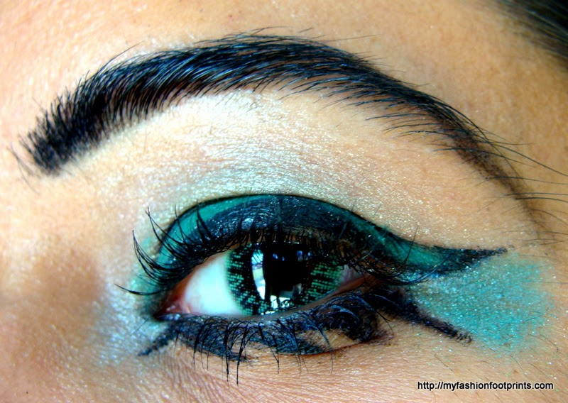 Winged Green eye makeup