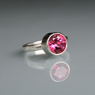 Modern pink topaz silver ring