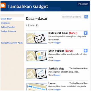 Cara Menambah Gadget Dasar  Untuk  Blog