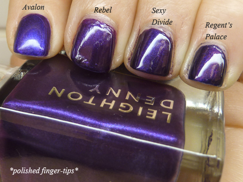Purple comparisons - Artificial light - A-England, Nails Inc, Leighton Denny and Essie