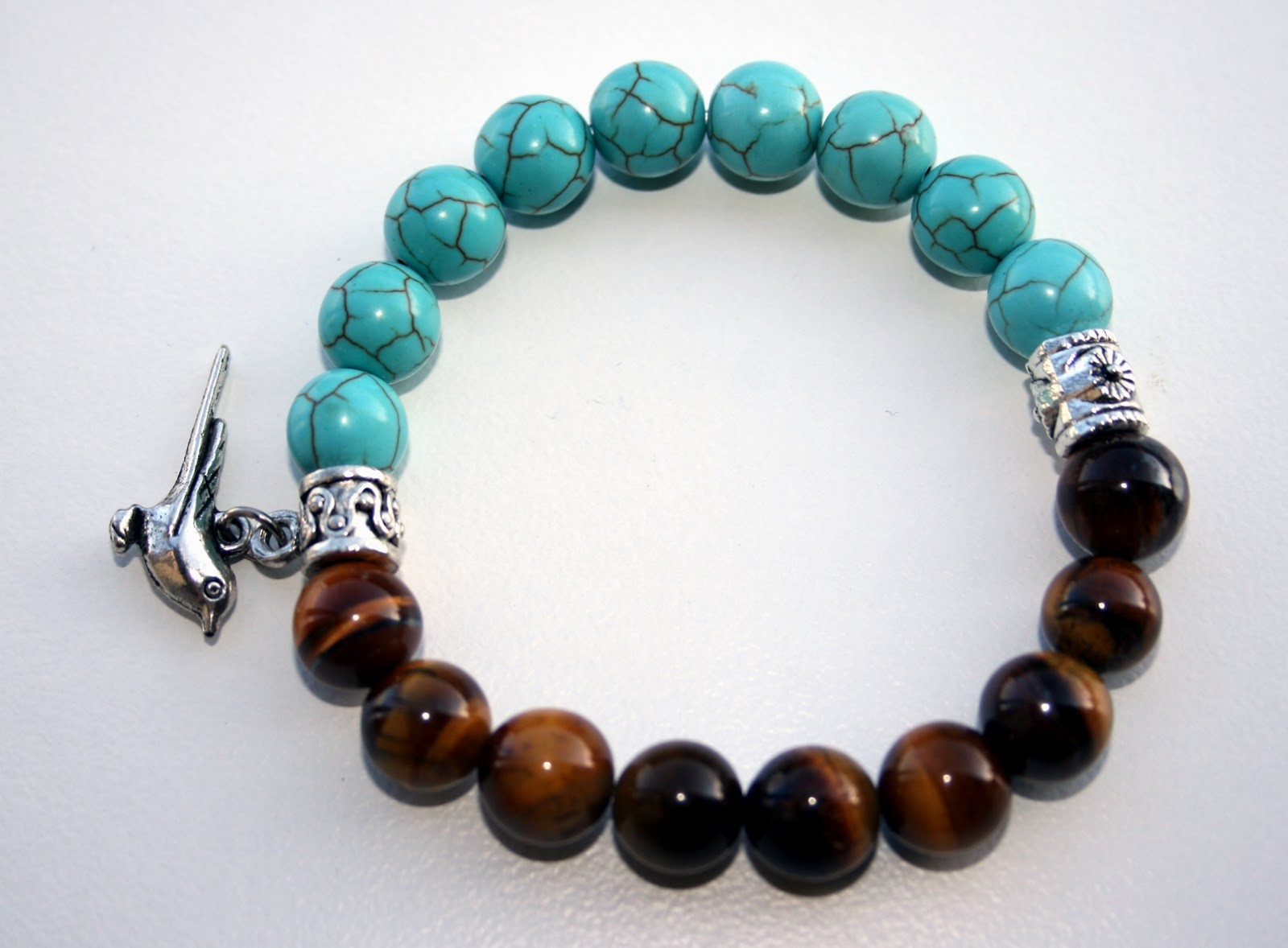 Turquoise and Tiger's Eye Bracelet, jewellery making, jewelry, gemstones