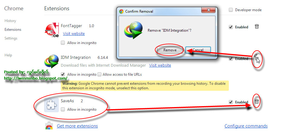 disable idm extension in chrome