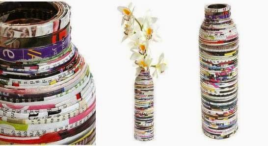 ide kreatif unik - vas bunga eksklusif dari majalah bekas