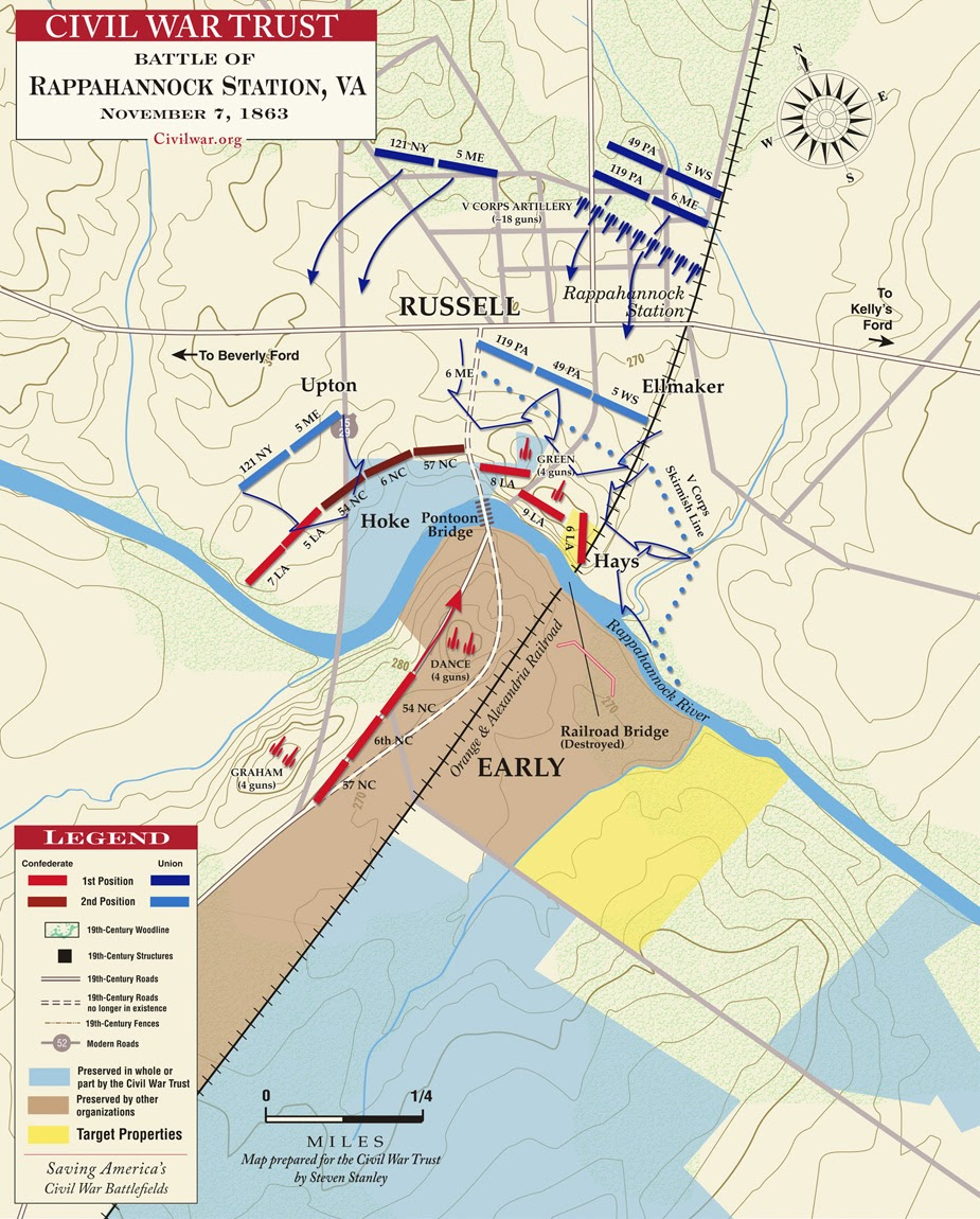 this map from the civil war trust depicts the union deployment at rappahannock station take note of ellmaker s brigade along the west side of the railroad