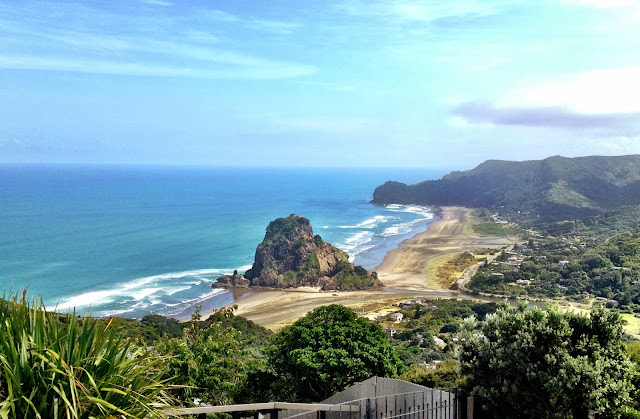 Looking down over Piha, New Zealand