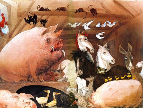 Los animales de la granja Manor, ilustración de Ralph Steadman para Rebelión en la granja - Cine de Escritor