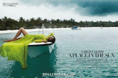 Nargis Fakhri Hot Wallpaper sleeping on Boat - Nargis Fakhri Bikini Pics from Harper Bazaar Magazine Hot Scans