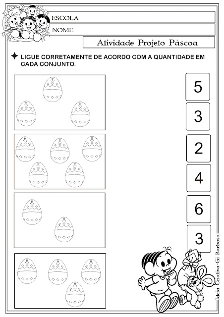 Atividade Matemática Páscoa Comercial Turma da Mônica