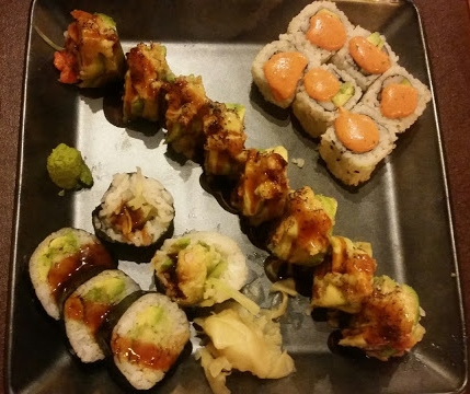 Shrimp Tempura, Avocado Torch, Spicy California, sushi, Asahi Roll, Chicago, Rogers Park