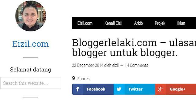 Blogger Lelaki di Review oleh Eizil.com
