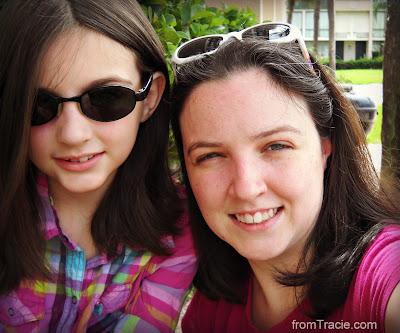 Katarina and Tracie wearing sunglasses the wrong way