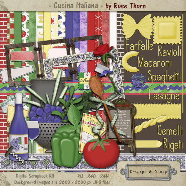 Cucina Italiana - digital scrapbook design by Rose Thorn