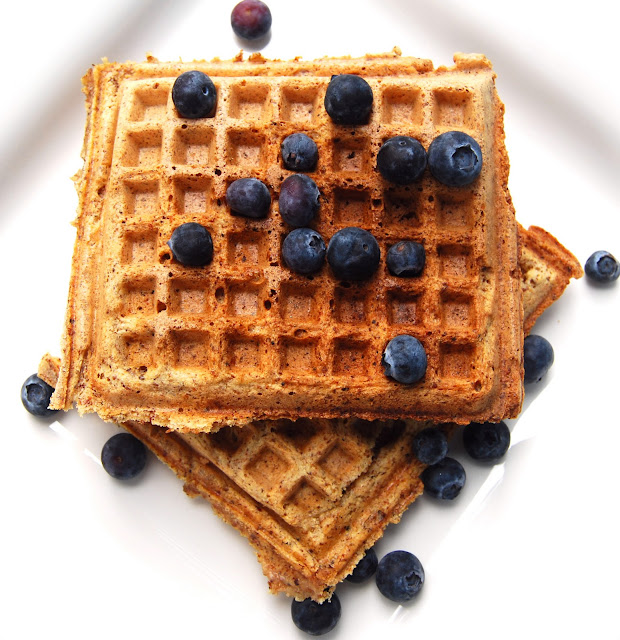 vegan maple wheat germ waffles