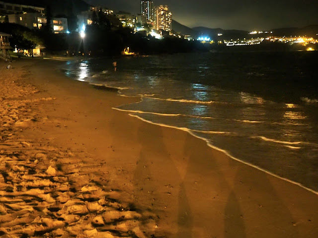 Waves on Stanley beach at night, Hong Kong