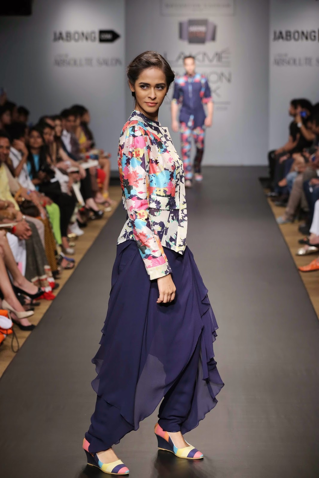 Sayantan Sarkar showcased a high-end line of evening wear christened 'A Motley Love' at Jabong Stage during Lakmé Fashion Week Summer/Resort 2014.