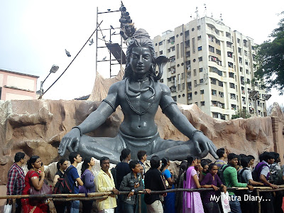 Lord Shiva statue as part the decorations at the Ganesh Galli Ganpati Pandal in Mumbai
