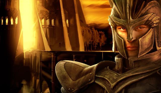 Guerreiro com armadura dourada