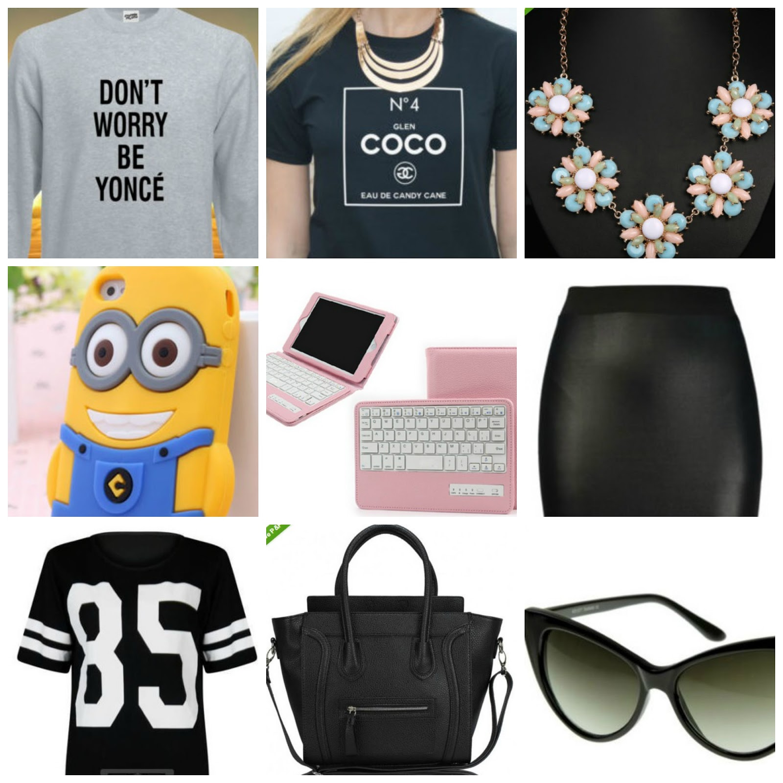 beyonce jumper, meangirls tshirt, pastel necklace, pencil skirt, minion phonecase, ipad cover, celine inspired bag, varisty top, cateye sunglasses