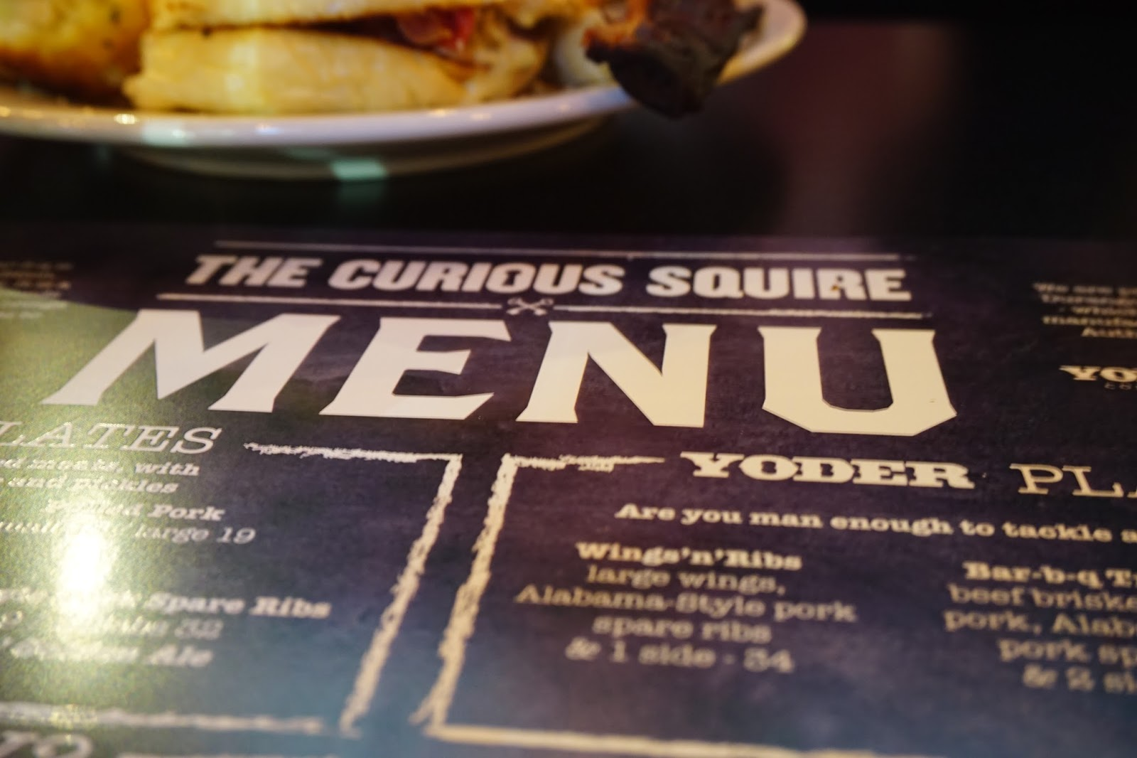 The menu at The Curious Squire, North Adelaide