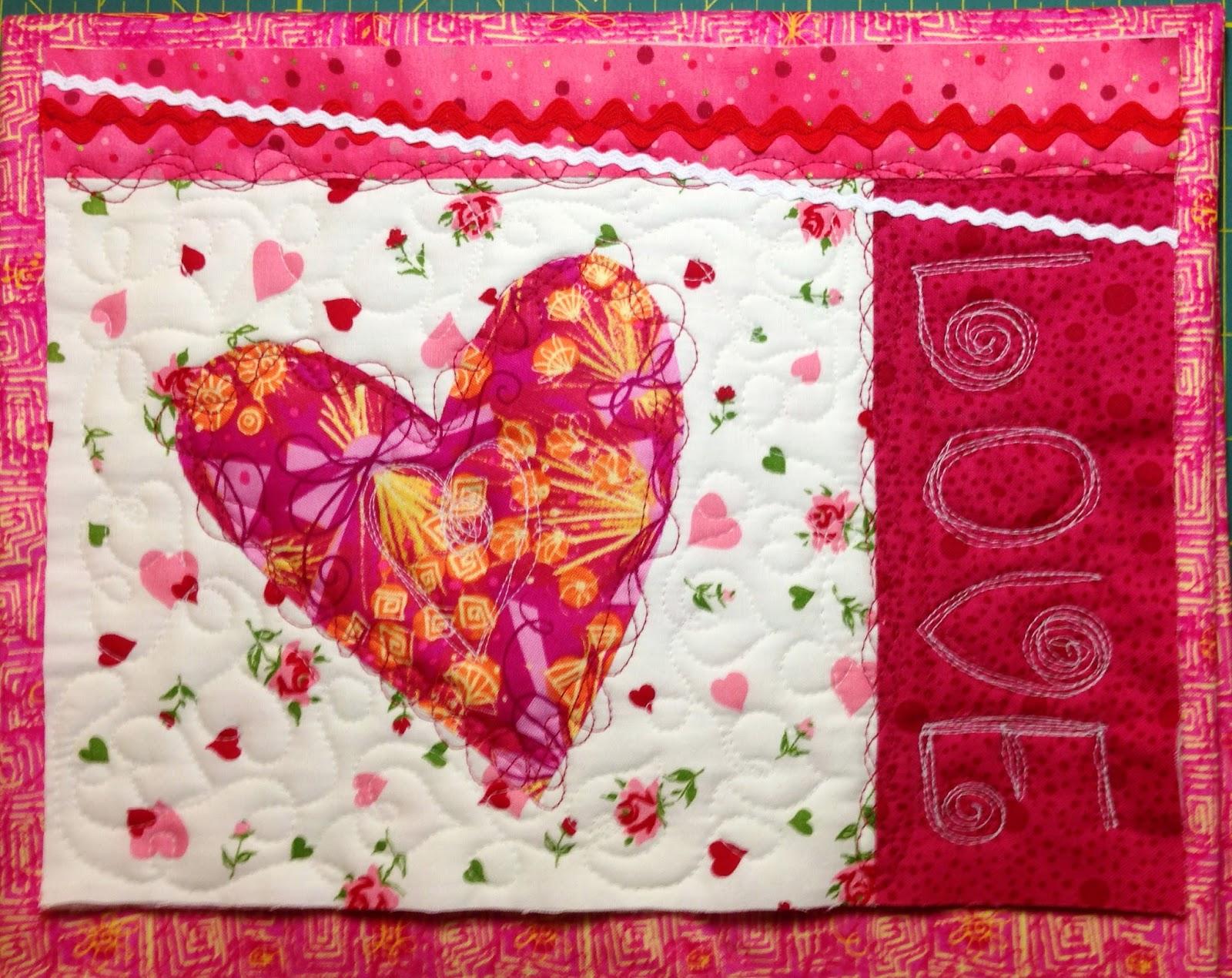 heart, mug rug, denise clason valentines day