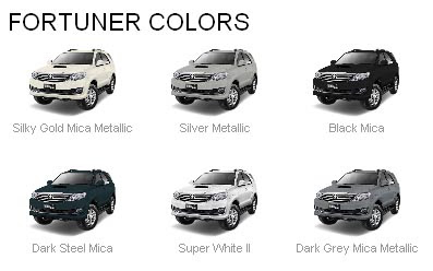 Fortuner SUV Colors