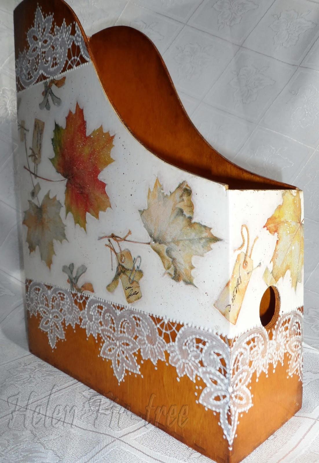 Helen Fir-tree декупаж журнальница Осень decoupage Magazine rack Autumn