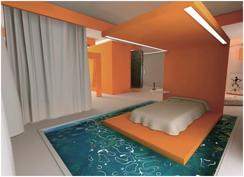 Swimming pool bedrooms bedroom decorating ideas for Pool canopy bed
