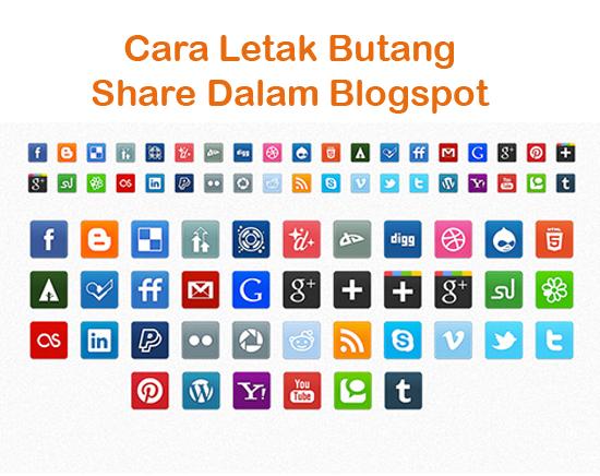 Cara Letak Butang Share Bawah Tengah Blog