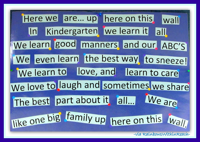 Kindergarten Bulletin Board via RainbowsWithinReach RoundUP of Bulletin Boards