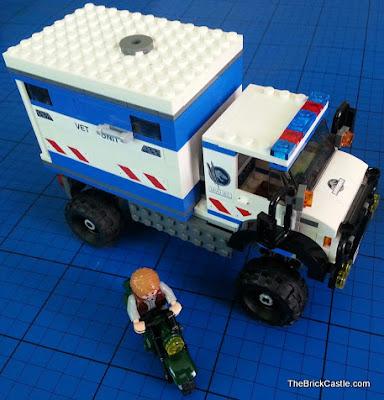 Jurassic World LEGO mobile vet unit and motorbike