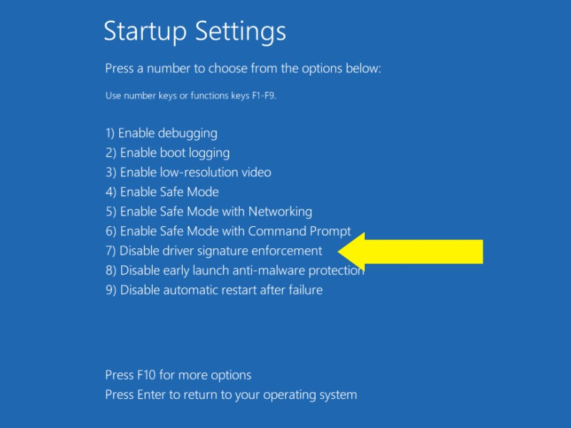 startup setting option
