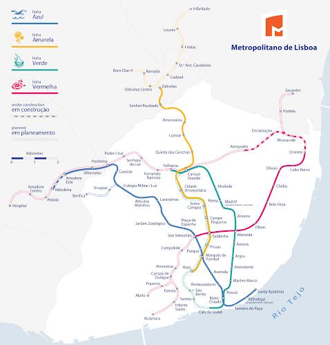 Mapa do metropolitano de Lisboa – Portugal