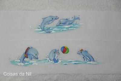 """""""faixas pintadas para toalha golfinhos"""""""