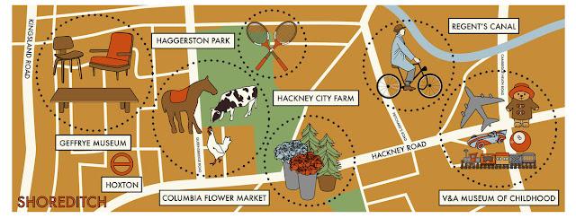 mapa ilustrado shoreditch en londres