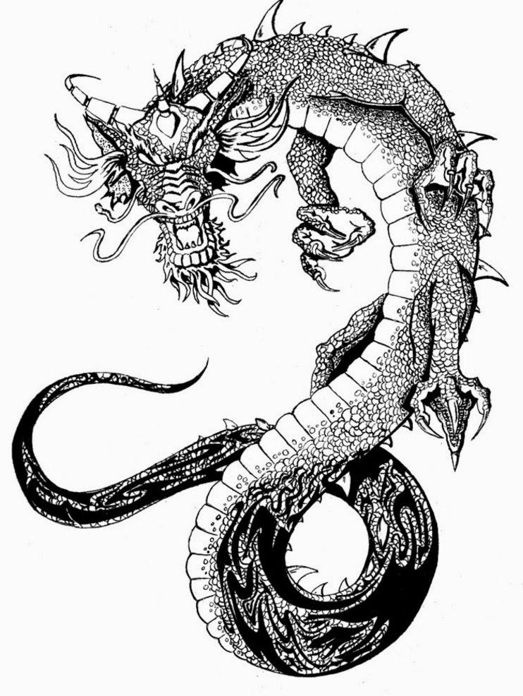 Chinese dragon tattoo stencil