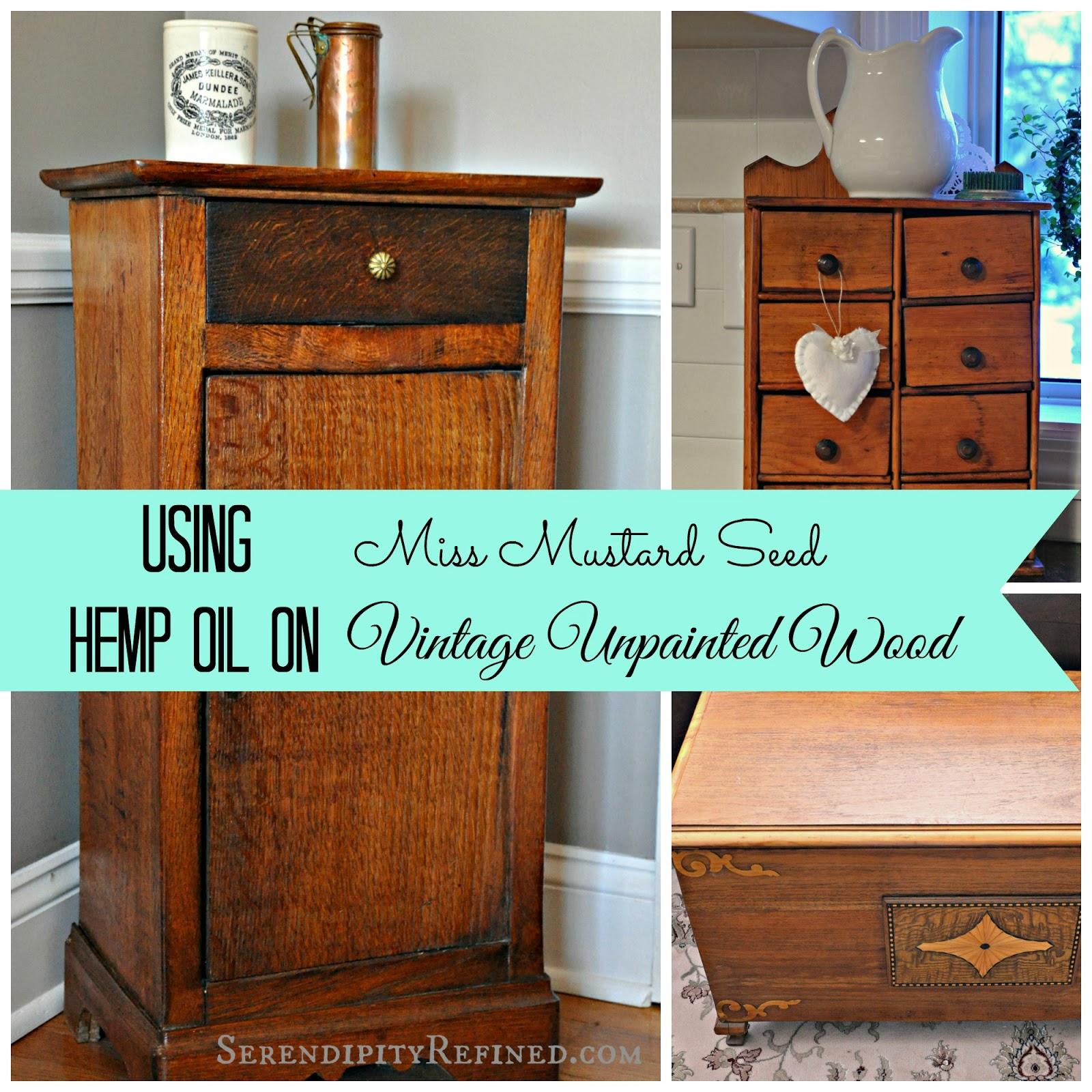 Miss Mustard Seed Hemp Oil On Unpainted Vintage Wood