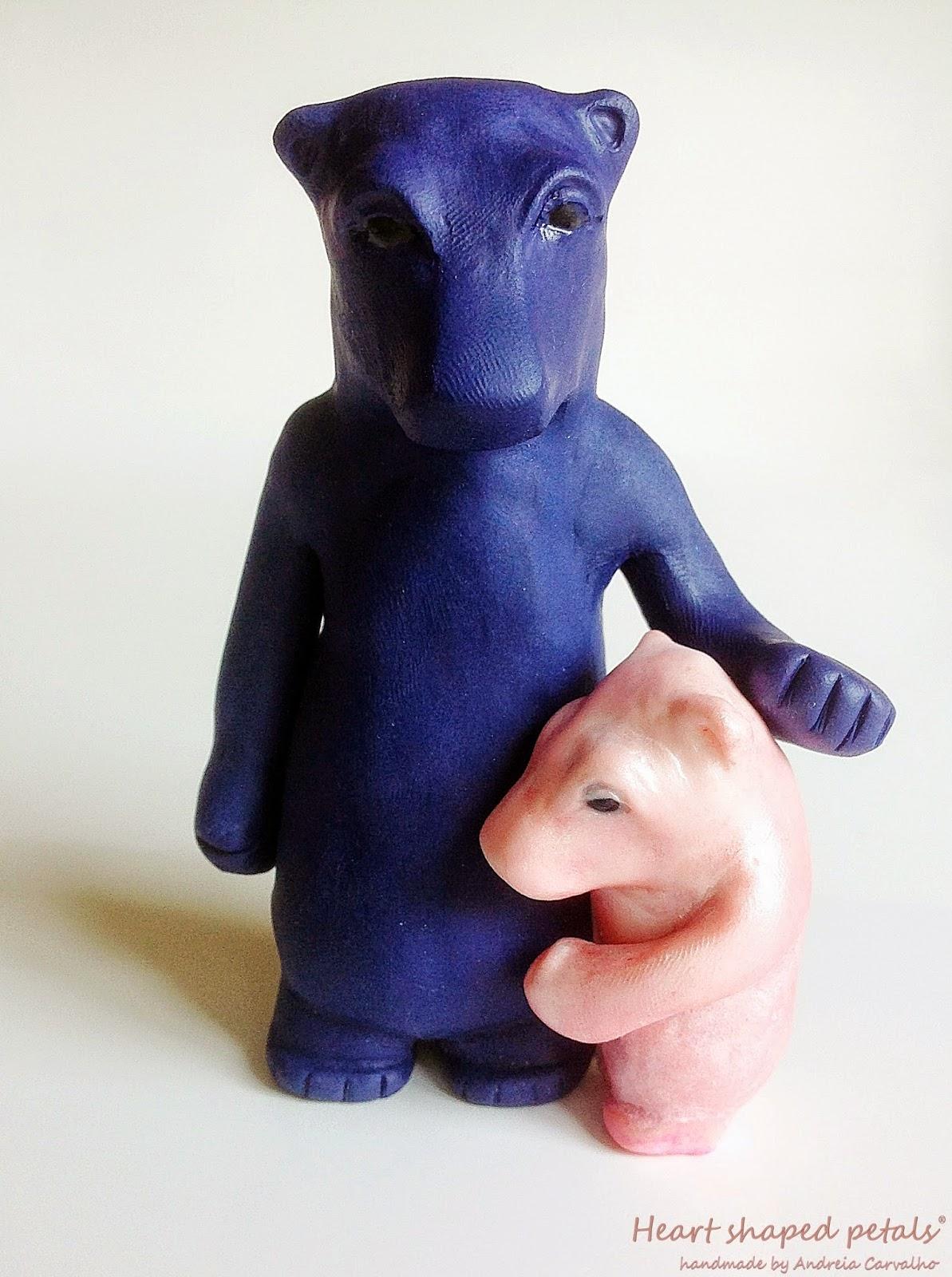 escultura miniatura ursos